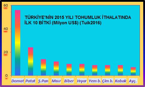 Türkiye 2015 yılı tohumluk ithalatı ilk 10 bitki